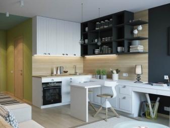 дизайн кухни студии 20 кв м 99 фото планировка маленькой