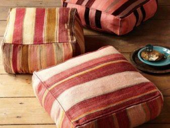 Напольные подушки (59 фото): большие и мягкие модульные модели для сидения на полу, пуфы и в виде солнышка