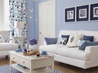 Голубая гостиная (42 фото): дизайн интерьера зала в голубых тонах, красивые сочетания цветов
