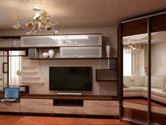 Угловая стенка (44 фото): мини-модель - горка - с вместительным шкафом в маленькую комнату
