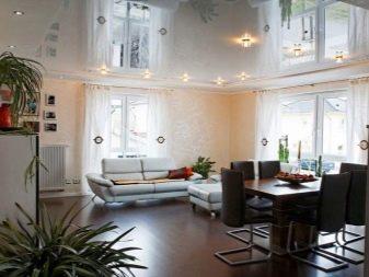 Зеркальный натяжной потолок (35 фото): полотно с отражающим эффектом в интерьере, отзывы