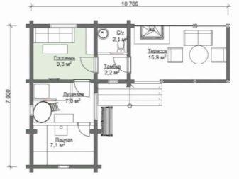 Баня со спальней на втором этаже