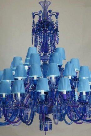 Люстры в синих тонах: сочетание в интерьере