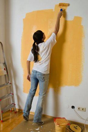 окраска стены водоэмульсионной краской