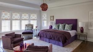 Спальня в серо-фиолетовых тонах