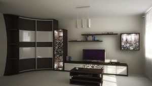 Угловые шкафы в интерьере гостиной