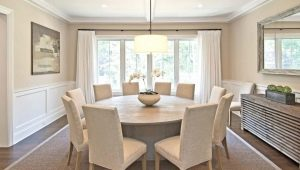 Белый круглый стол в интерьере