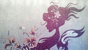 Как делать рисунки на стенах жидкими обоями?
