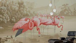 Обои с фламинго в интерьере