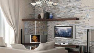 Декоративный камень в оформлении интерьера гостиной