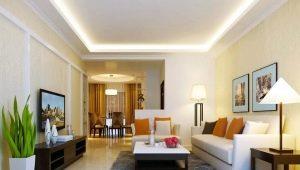 Потолок с подсветкой по периметру в дизайне интерьера