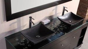 Черная раковина в дизайне современной квартиры