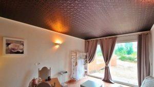 Фактурные натяжные потолки в интерьере