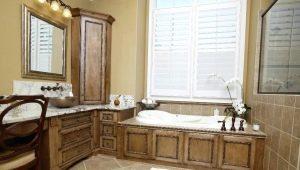 Угловая мебель для ванной комнаты: особенности выбора