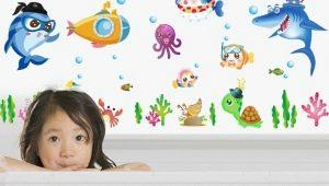 Выбираем детские наклейки для ванной