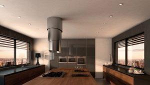 Круглая вытяжка в дизайне кухни