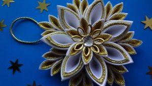 Новогодние украшения в технике канзаши: виды и изготовление