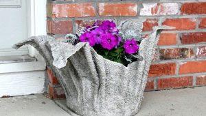 Как сделать вазу для сада из цемента и ткани своими руками?