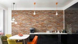 Обои под кирпич в дизайне интерьера кухни
