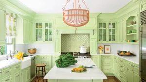 Салатовые кухни в интерьере