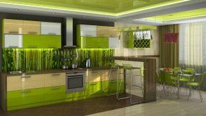 Зеленая кухня: дизайн гарнитура и выбор под интерьер