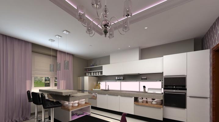 кухня совмещенная с гостиной дизайн фото в частном доме 5