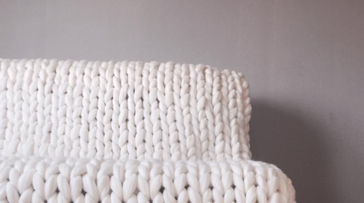 Пледы из шерсти мериноса крупной вязки