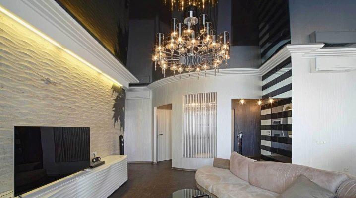Черный натяжной потолок (48 фото): дизайн интерьера прихожей и коридора с  потолком темного цвета, отзывы
