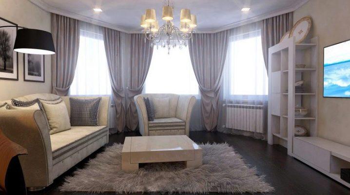 Шторы на эркерное окно в гостиной: плюсы и минусы