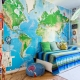 Фотообои с картой мира в интерьере детской