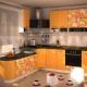 Оранжевые кухни в интерьере