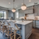 Серо-голубая кухня в интерьере