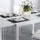 Белый кухонный стол: виды и примеры в интерьере
