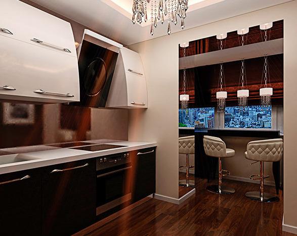 Дизайн кухни с открытым балконом