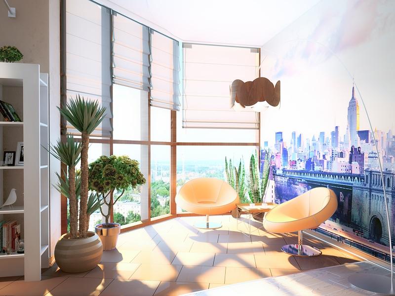 Дизайн балкона с панорамным остеклением - фото и современные.