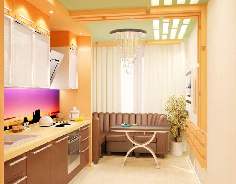 Дизайн интерьер кухни совмещенной с лоджией