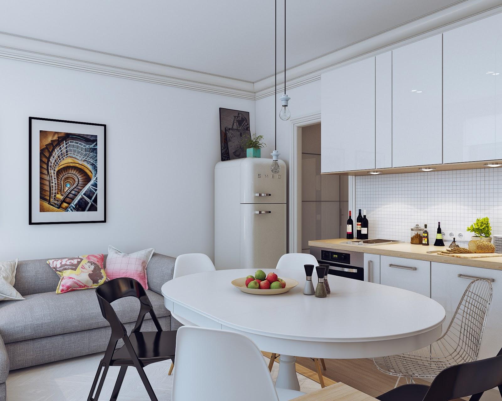 Квартира студия дизайн интерьера 25