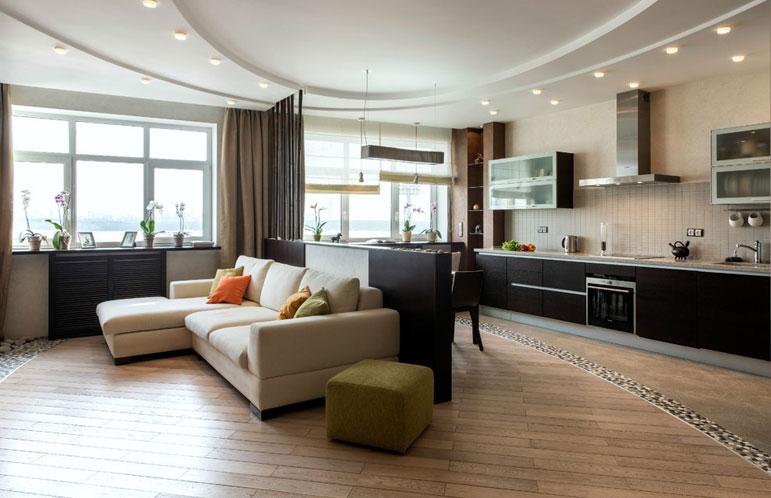 Дизайн кухни гостиной 30 м2