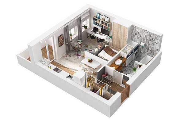 интерьер квартиры-студии 40 кв.м фото