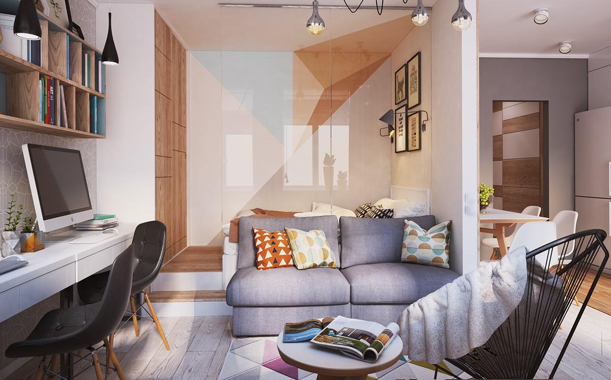 Интерьер двухкомнатной квартиры 40 кв.м фото в современном стиле