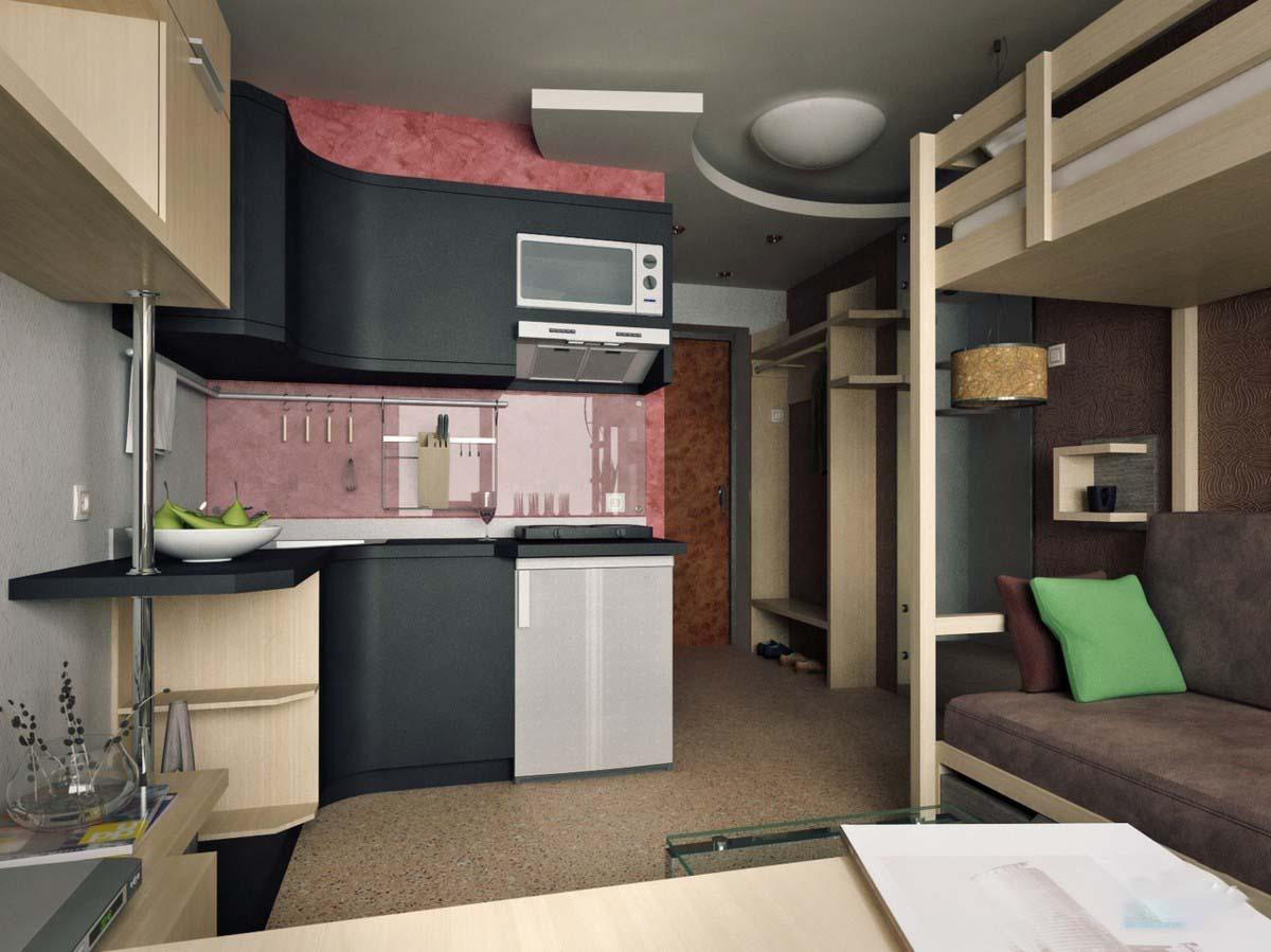 Дизайн комнаты студии с кухней 18 кв м 26