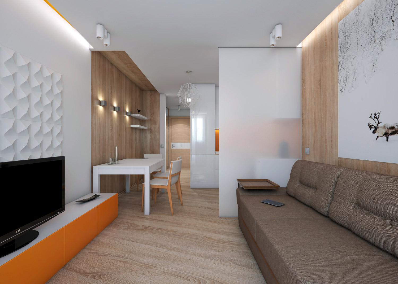 Интерьер квартиры студии 24 кв.м фото прямоугольной формы