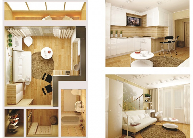 Дизайн интерьер студии 28 кв.м