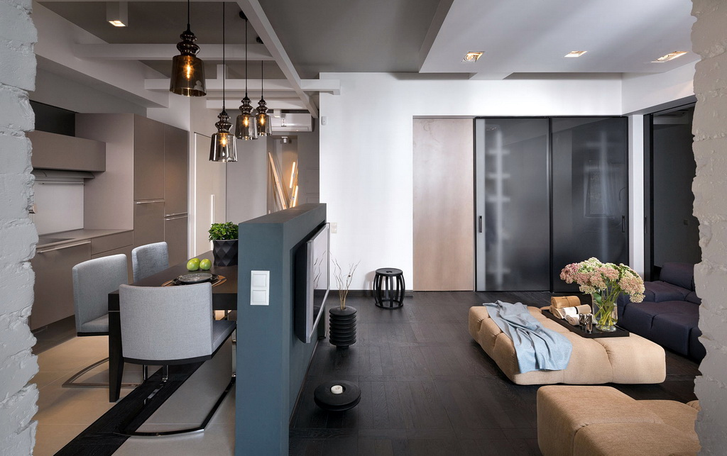 Кухня-гостиная 30 кв м дизайн с перегородкой