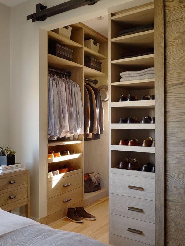 Маленькая гардеробная комната (116 фото): из кладовки размер.