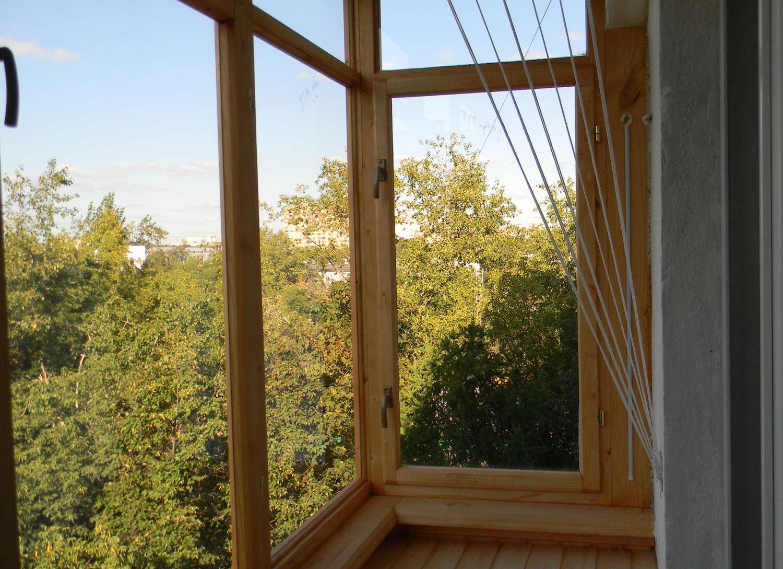 Застекляем балкон деревом своими руками 763