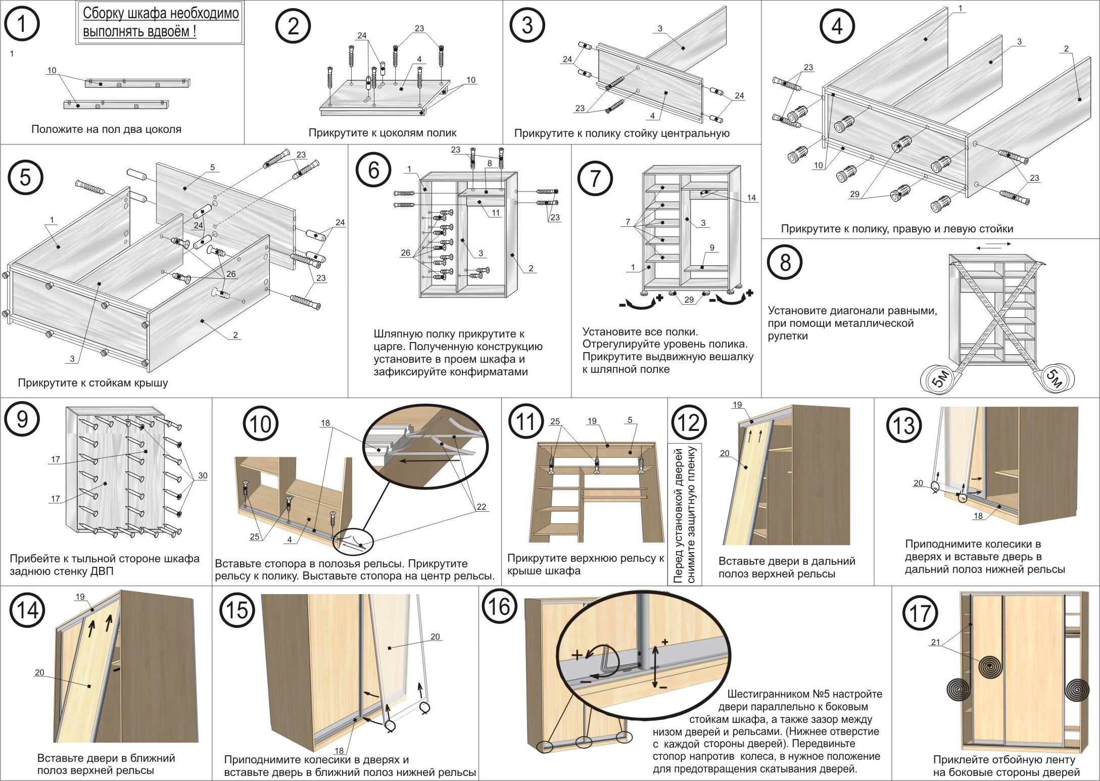 Как собирать шкаф купе инструкция