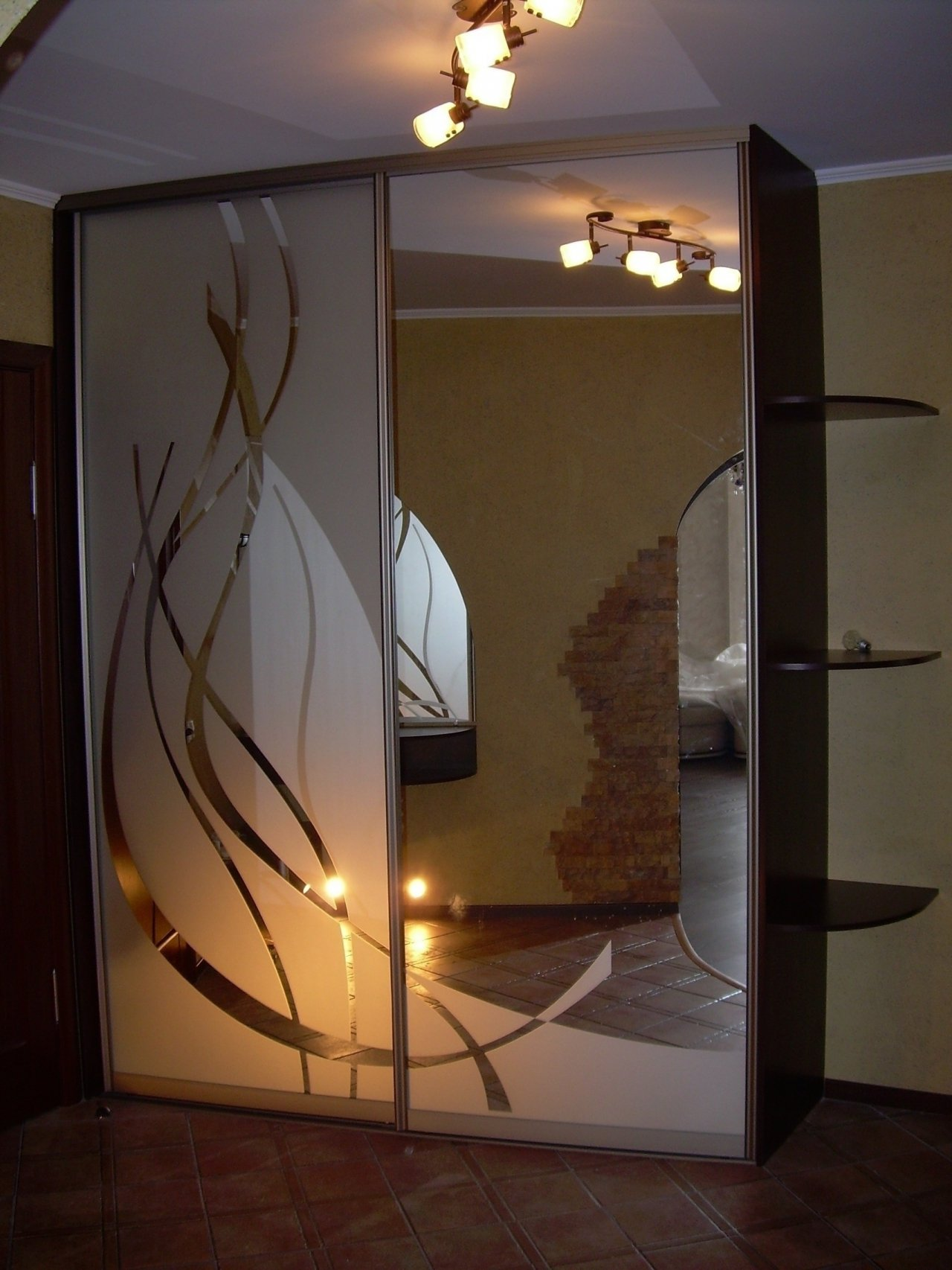 Узор пескоструй на зеркалах фото