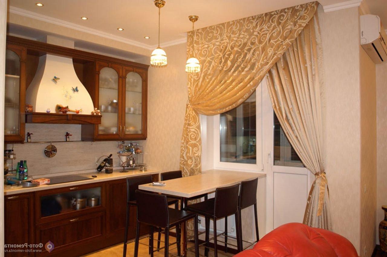 Дизайн шторы на кухню с балконной дверью.
