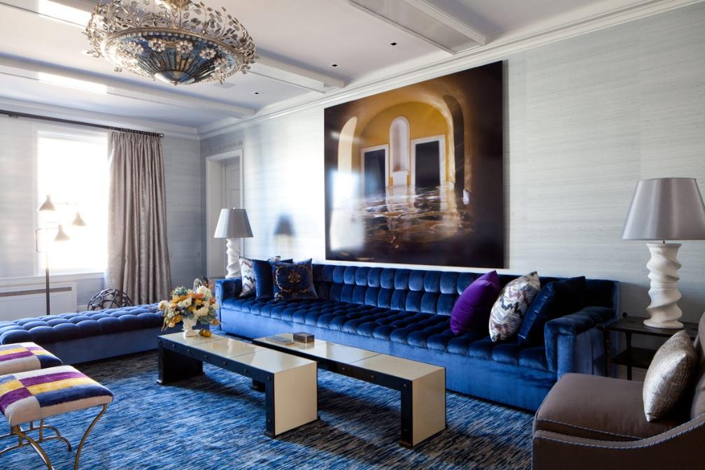 Синие диваны в интерьере фото